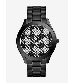 Runway Black Stainless Steel Houndstooth Watch