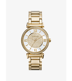 Catlin Pavé-Embellished Gold-Tone Stainless Steel Watch