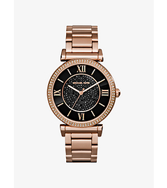 Catlin Pavé-Embellished Onyx and Rose Gold-Tone Watch