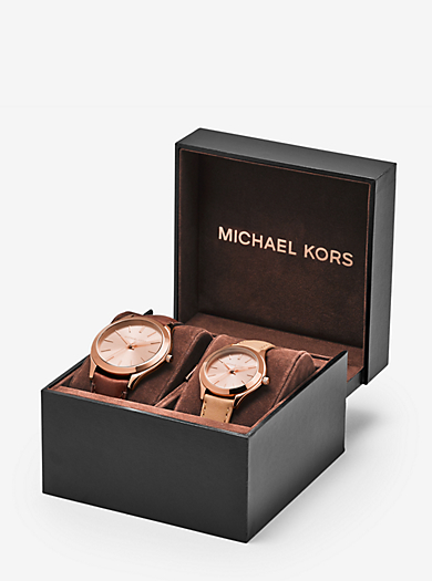 Slim Runway Rose Gold-Tone and Leather Watch Gift Set  by Michael Kors