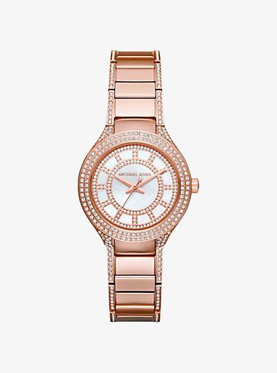 Kerry Mini Pavé Rose Gold-Tone Watch by Michael Kors