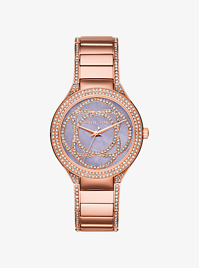 Kerry Pavé Mother-of-Pearl and Rose Gold-Tone Watch by Michael Kors