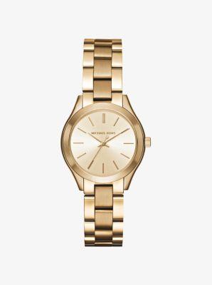 Mini Slim Runway Gold-Tone Watch by Michael Kors