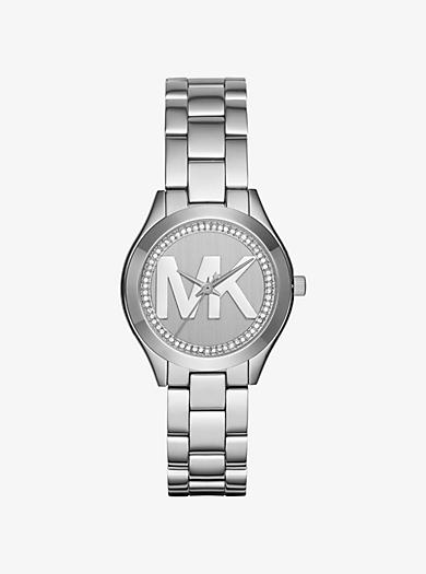 Slim Runway Pavé Silver-Tone Watch by Michael Kors