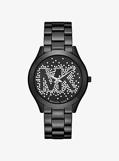 Slim Runway Scatter Logo Black-Tone Watch by Michael Kors