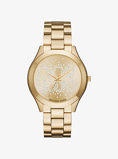 Slim Runway Scatter Logo Gold-Tone Watch by Michael Kors