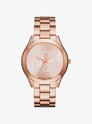 Slim Runway Scatter Logo Rose Gold-Tone Watch by Michael Kors
