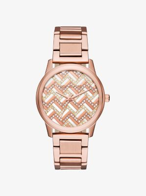 Hartman Chevron Rose Gold-Tone Watch by Michael Kors