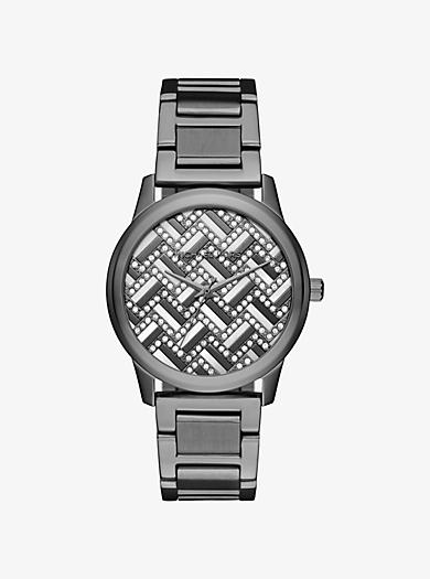 Hartman Chevron Pavé Gunmetal-Tone Watch by Michael Kors