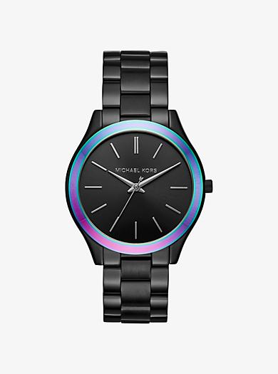 Slim Runway Black-Tone and Iridescent Watch by Michael Kors