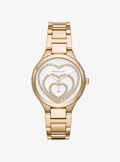 Lainey Pavé Heart Gold-Tone Watch by Michael Kors