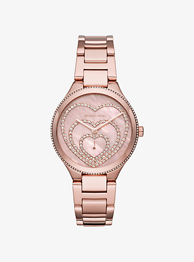 Lainey Pavé Heart Rose Gold-Tone Watch by Michael Kors