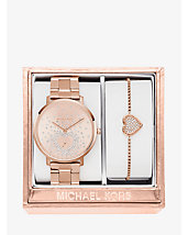 Ensemble montre et bracelet Jaryn de ton or rose