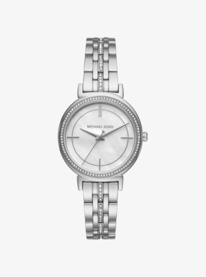 Cinthia Pavé Silver-Tone Watch by Michael Kors