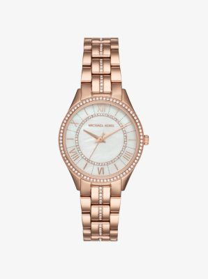 마이클 코어스 메탈 시계 Michael Kors Mini Lauryn Pavé Rose Gold-Tone Watch,ROSE GOLD
