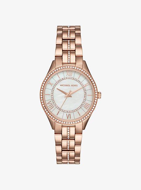 MK Petite montre Lauryn ton or rose avec pierres pavées - OR ROSE(OR ROSE) - Michael Kors