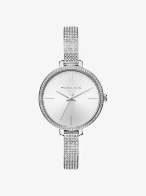 마이클 코어스 메탈 시계 Michael Kors Jaryn Pavé Silver-Tone Watch,SILVER