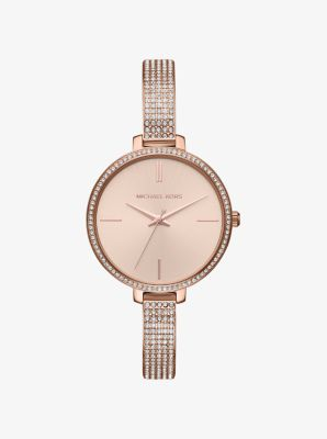 마이클 코어스 메탈 시계 Michael Kors Jaryn Pavé Rose Gold-Tone Watch,ROSE GOLD
