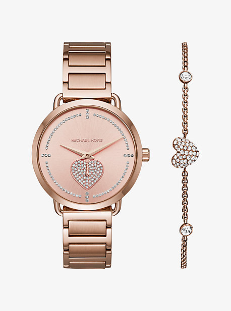 Portia Pave Rose Gold-Tone Watch And Bracelet Set
