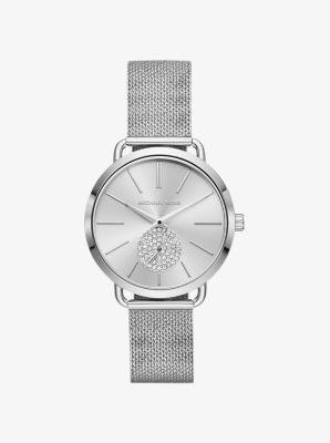 마이클 코어스 메탈 시계 Michael Kors Portia Mesh Silver-Tone Watch,SILVER