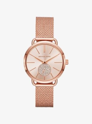 마이클 코어스 메탈 시계 Michael Kors Portia Mesh Rose Gold-Tone Watch,ROSE GOLD