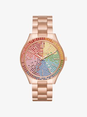 Michael Kors Slim Runway Rainbow Pave Rose Gold-Tone Watch,ROSE GOLD