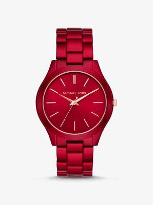Michael Kors Slim Runway Coated Stainless Steel Watch,RED