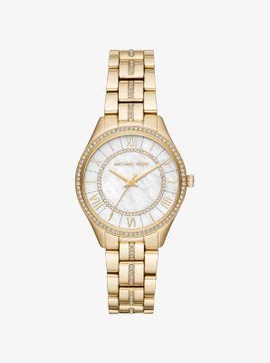 마이클 코어스 메탈 시계 Michael Kors Mini Lauryn Pave Gold-Tone Watch,GOLD