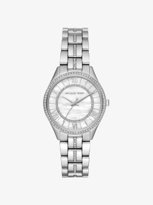 마이클 코어스 메탈 시계 Michael Kors Mini Lauryn Pave Silver-Tone Watch,SILVER