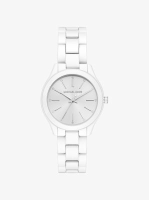 Michael Kors Mini Slim Runway White-Coated Watch,WHITE