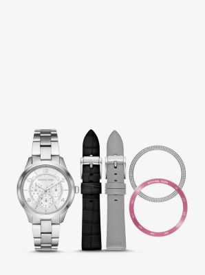 Michael Kors Runway Silver-Tone and Leather Interchangeable Watch Set,SILVER