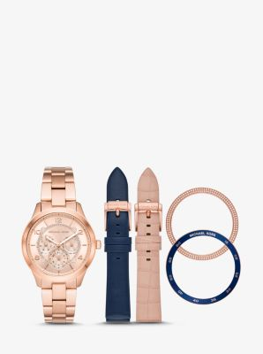 Michael Kors Runway Rose Gold-Tone and Leather Interchangeable Watch Set,ROSE GOLD