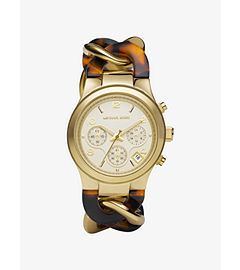 Runway Twist Gold-Tone Stainless Steel and Tortoise Acetate Watch