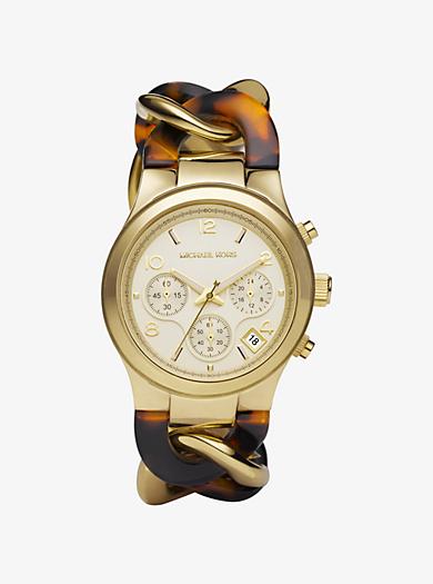 Runway Twist Gold-Tone Tortoise Acetate Watch by Michael Kors