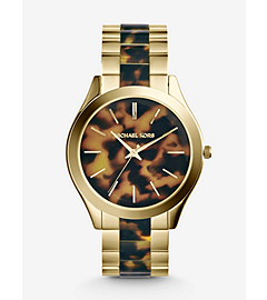 Slim Runway Tortoise and Gold-Tone Stainless Steel Watch