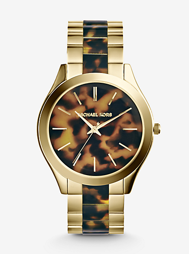 Slim Runway Tortoise and Gold-Tone Watch by Michael Kors