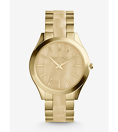 Slim Runway Horn and Gold-Tone Stainless Steel Watch