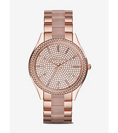 Slim Runway Pave-Embellished Stainless Steel Watch
