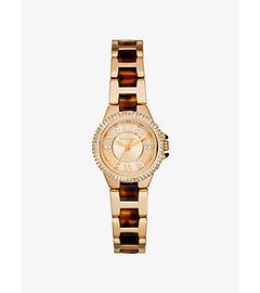 Petite Camille Embellished Tortoise Acetate Watch