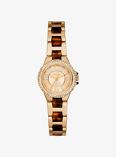Petite Camille Embellished Tortoise Acetate and Gold-Tone Stainless Steel Watch by Michael Kors