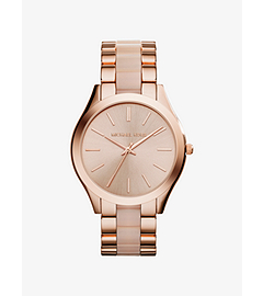 Slim Runway Rose Gold-Tone Stainless Steel and Acrylic Watch