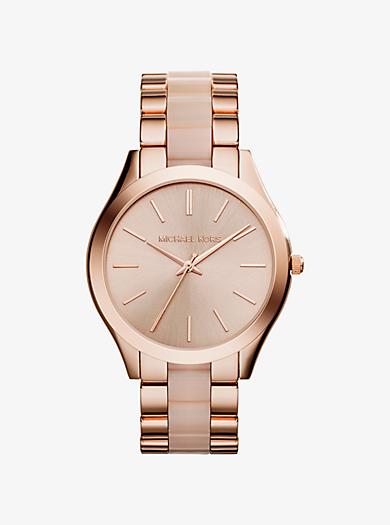 Slim Runway Rose Gold-Tone Acrylic Watch by Michael Kors