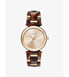 Delray Gold-Tone and Tortoise-Acetate Watch by Michael Kors