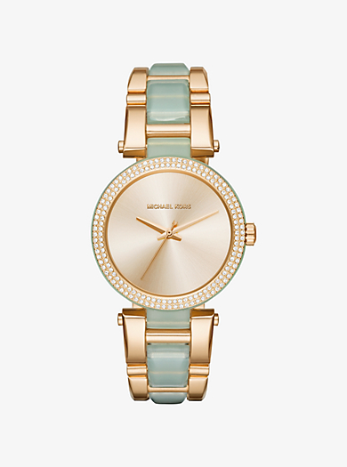 Delray Pavé Gold-Tone and Acetate Watch by Michael Kors