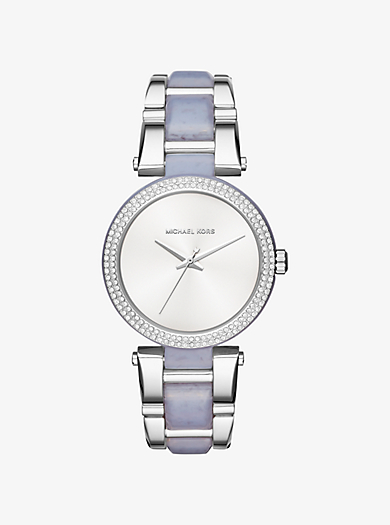 Delray Pavé Silver-Tone and Acetate Watch by Michael Kors