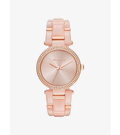 Delray Pavé Rose Gold-Tone and Acetate Watch by Michael Kors