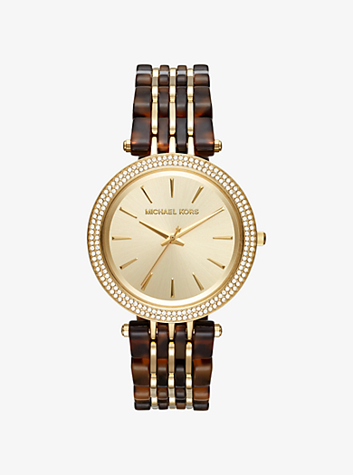 Darci Pavé Gold-Tone and Acetate Watch by Michael Kors
