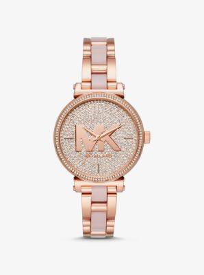 Michael Kors Sofie Pave Rose Gold-Tone and Acetate Watch,ROSE GOLD