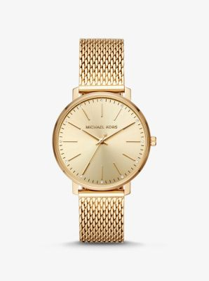 Michael Kors Pyper Gold-Tone Mesh Watch,GOLD