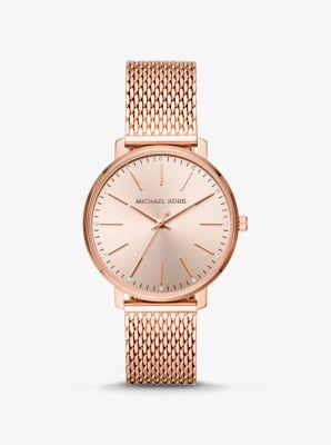 Michael Kors Pyper Rose Gold-Tone Mesh Watch,ROSE GOLD